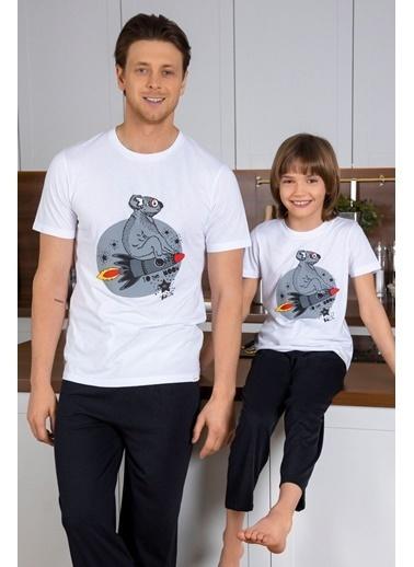 Katia & Bony Önü Baskılı Erkek Çocuk Pijama Takımı - Beyaz Beyaz
